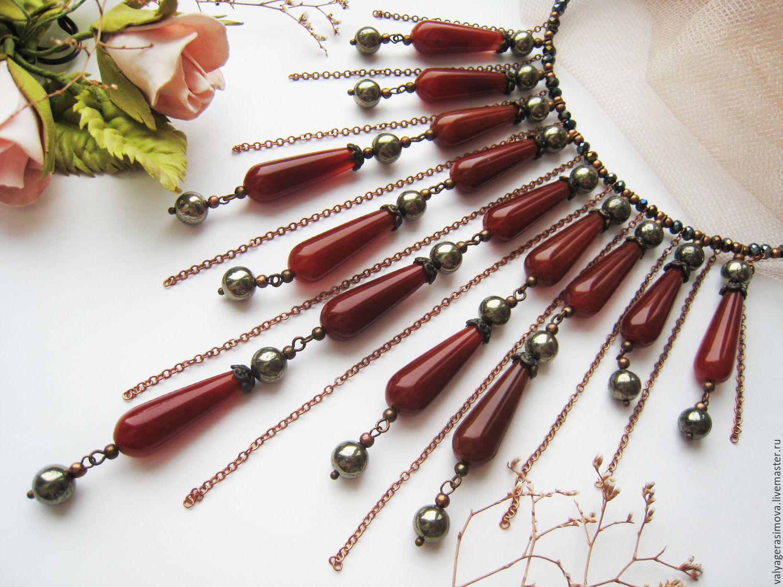 фото проволочное ожерелье с бусинами того, мотки пряжи