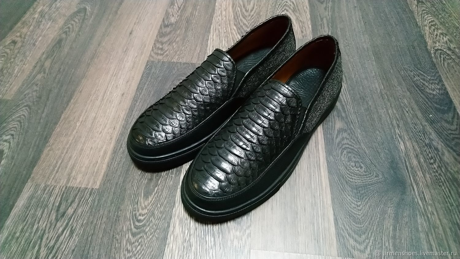 Men's slip-ons made of Python, tweed and genuine leather, Slip-ons, Tosno,  Фото №1