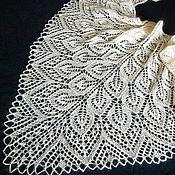 Аксессуары handmade. Livemaster - original item Ivory wedding shawl. Knitted bridal shawl, Lace wedding scarf. Handmade.