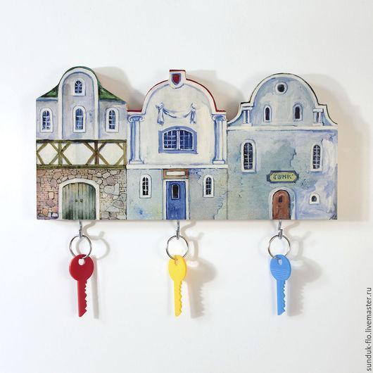 Настенная ключница Голубые домики