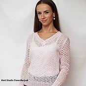Одежда ручной работы. Ярмарка Мастеров - ручная работа Ажурный пуловер из мохера нежно-розового цвета. Handmade.