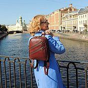 Сумки и аксессуары handmade. Livemaster - original item Backpack leather female Burgundy rosemary Mod P27-182. Handmade.