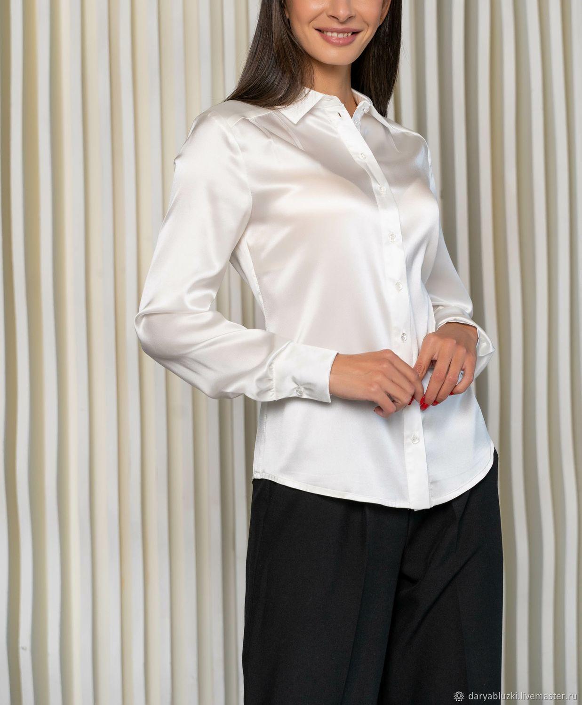 Белая блузка из натурального шелка, Блузки, Владимир,  Фото №1