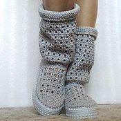 Обувь ручной работы. Ярмарка Мастеров - ручная работа Сапожки вязаные ажурные, хлопок, серый. Handmade.