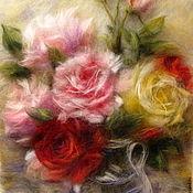 Картины и панно handmade. Livemaster - original item Pattern wool Bouquet of roses. Handmade.