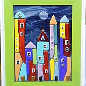 """Для дома и интерьера ручной работы. Ярмарка Мастеров - ручная работа Картина из стекла """"Ночной городок"""". Handmade."""