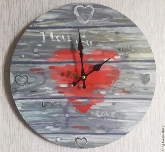 Часы для дома ручной работы. Ярмарка Мастеров - ручная работа. Купить Часы ручной работы на деревянной основе, ручная роспись, сердце, доски. Handmade.