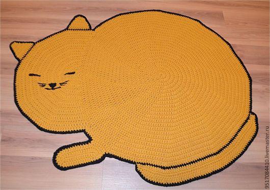 Текстиль, ковры ручной работы. Ярмарка Мастеров - ручная работа. Купить Коврик Мурлыка. Handmade. Желтый, горчичный цвет, кот