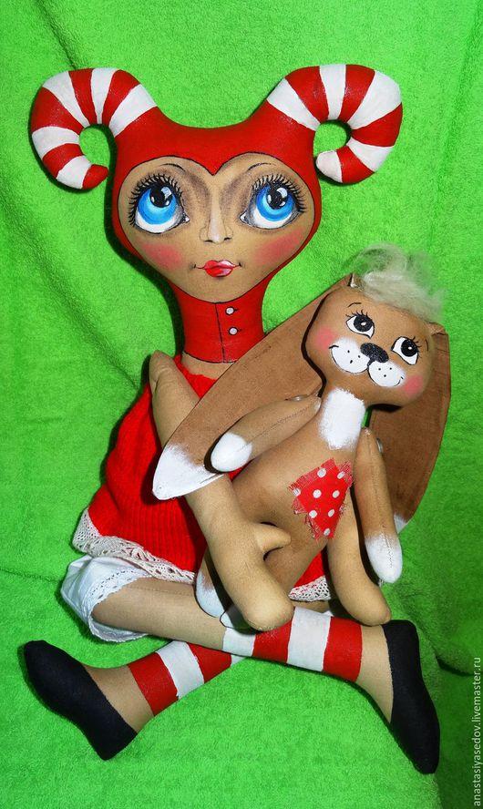 Коллекционные куклы ручной работы. Ярмарка Мастеров - ручная работа. Купить Арлетта и зайка. Handmade. Ярко-красный, чердачная игрушка
