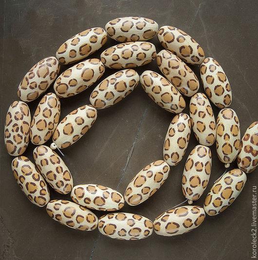 Для украшений ручной работы. Ярмарка Мастеров - ручная работа. Купить Овальные деревянные бусины Леопард, 32 мм.. Handmade.