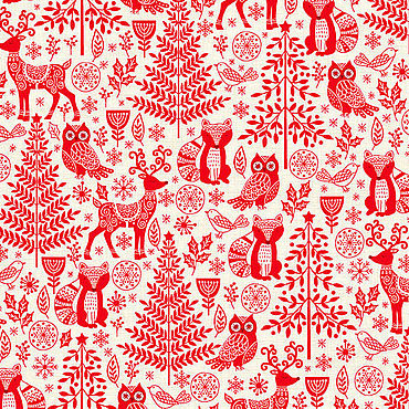 Материалы для творчества ручной работы. Ярмарка Мастеров - ручная работа Ткани: Scandi 2019 Forest Animals Red Makower. Handmade.