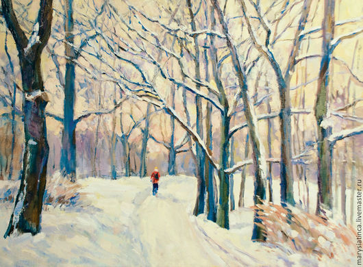 Пейзаж ручной работы. Ярмарка Мастеров - ручная работа. Купить Теплая зима. Handmade. Теплая зима, деревья, картина, Снег