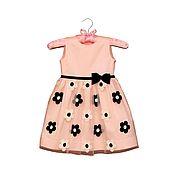 Работы для детей, handmade. Livemaster - original item Pink dressy dress for girl with black and white flowers. Handmade.