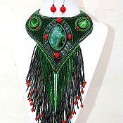 Украшения handmade. Livemaster - original item Long beaded necklace blue and green with pendants. Handmade.