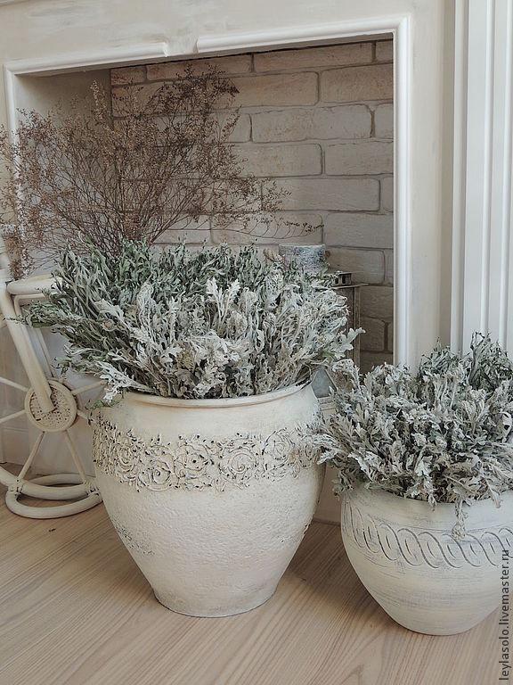 крынка белая ваза напольная для интерьера в шебби