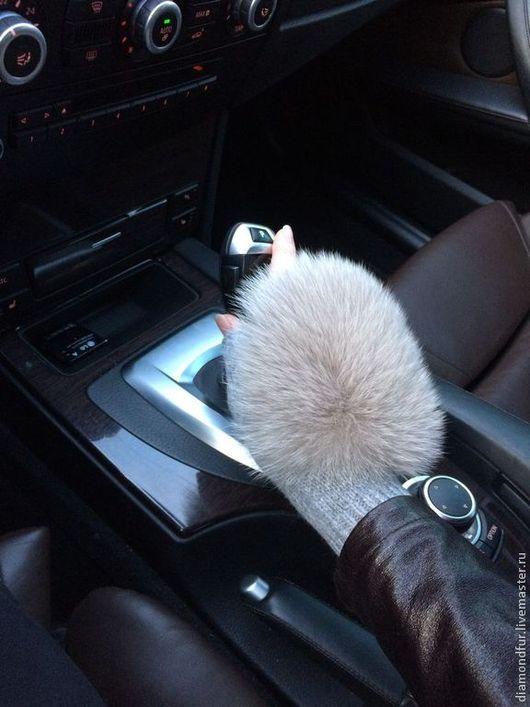 Варежки, митенки, перчатки ручной работы. Ярмарка Мастеров - ручная работа. Купить Стильные митенки автоледи. Handmade. Серый, енот