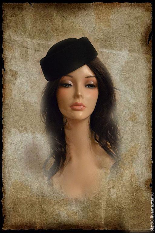 Шляпы ручной работы. Ярмарка Мастеров - ручная работа. Купить Таблетка черная. Handmade. Шляпка-таблетка, маленькая шляпка