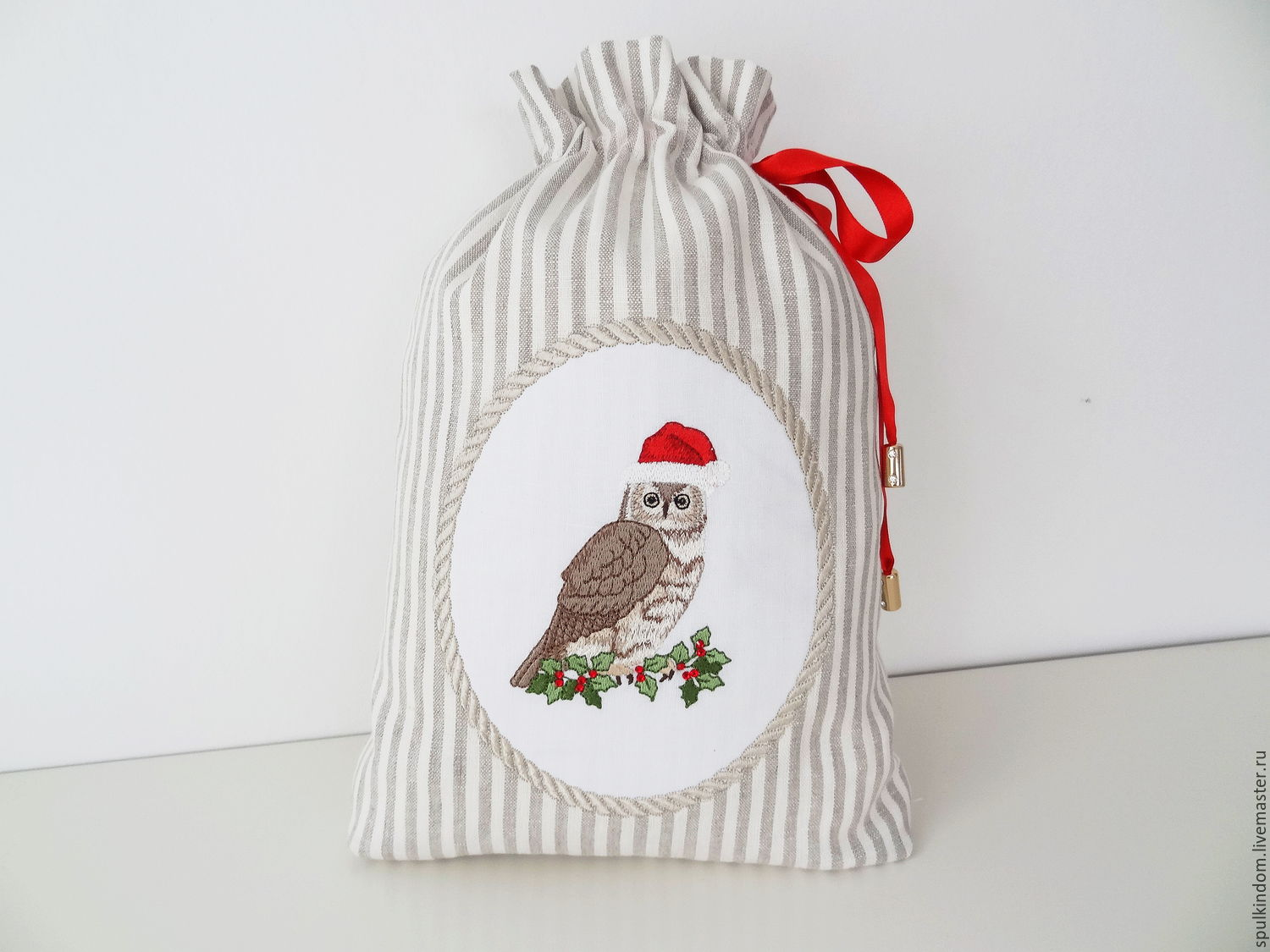 linen bag with embroidery `christmas owl` `sulkin house` embroidery workshop