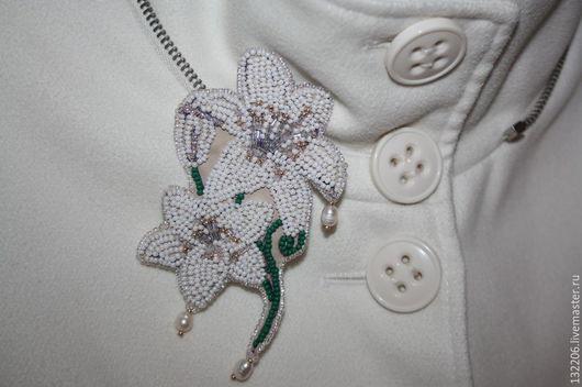 """Броши ручной работы. Ярмарка Мастеров - ручная работа. Купить Брошь-кулон """"Королевская лилия"""". Handmade. Белый, брошь с лилией"""