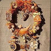 """Для дома и интерьера ручной работы. Ярмарка Мастеров - ручная работа Интерьерный венок""""Зимний.Оранжевый"""". Handmade."""