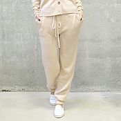 Одежда handmade. Livemaster - original item Knitted trousers for women Beige color. Handmade.