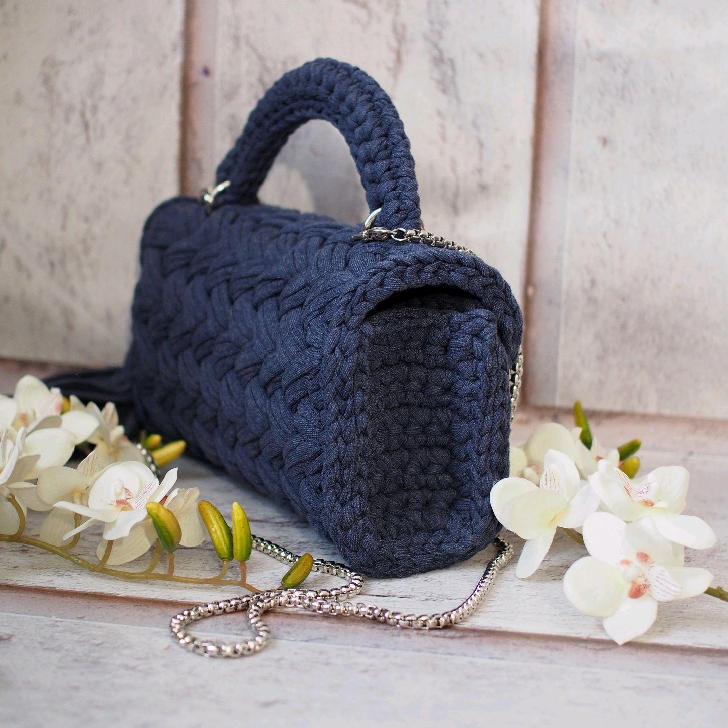 Вязаная сумка из трикотажной пряжи Джинс