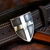 Аксессуары handmade. Livemaster - original item Leather belt with brass buckle