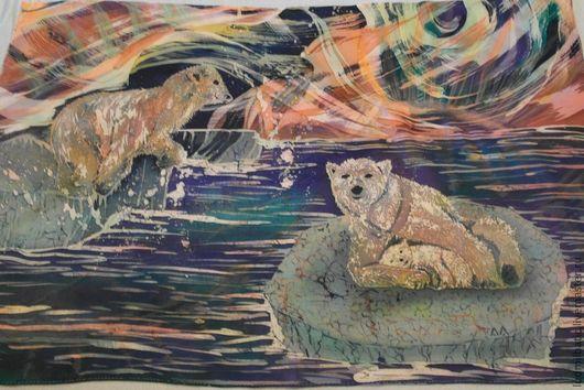 Пейзаж ручной работы. Ярмарка Мастеров - ручная работа. Купить Северное сияние. Handmade. Тёмно-фиолетовый, шторка, атлас