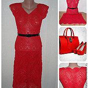 Одежда ручной работы. Ярмарка Мастеров - ручная работа Красное платье вязаное крючком. Handmade.