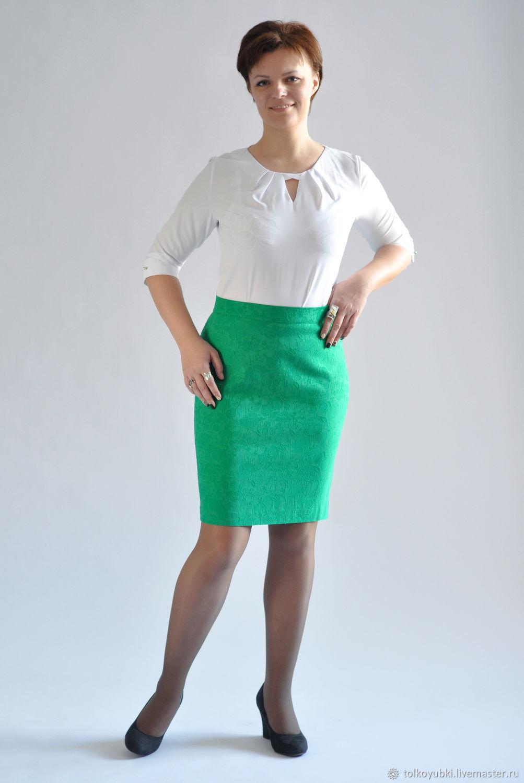 Green skirt.