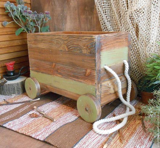 Кантри стиль в интерьере. Деревянная тележка-короб из сосны. `LedaksDecor` -для уютного дома!