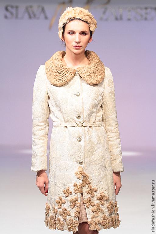 """Верхняя одежда ручной работы. Ярмарка Мастеров - ручная работа. Купить Пальто """"Сливочный каракуль"""". Handmade. Бежевый, пальто с мехом"""