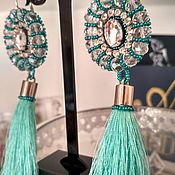 Серьги-кисти ручной работы. Ярмарка Мастеров - ручная работа Бирузовая волна. Handmade.
