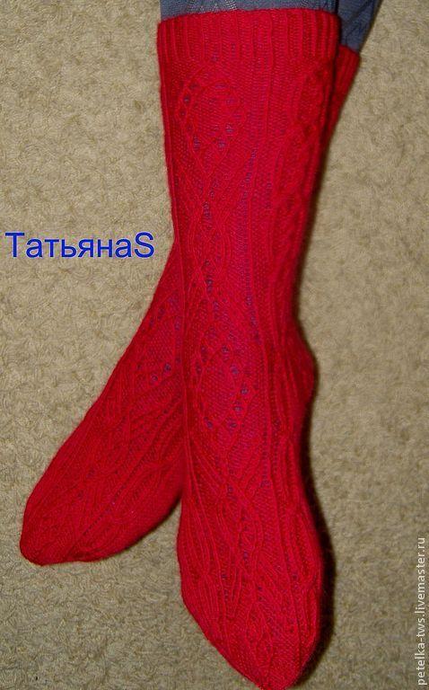 Носки, Чулки ручной работы. Ярмарка Мастеров - ручная работа. Купить Носки №2. Handmade. Ярко-красный, подарок для женщины