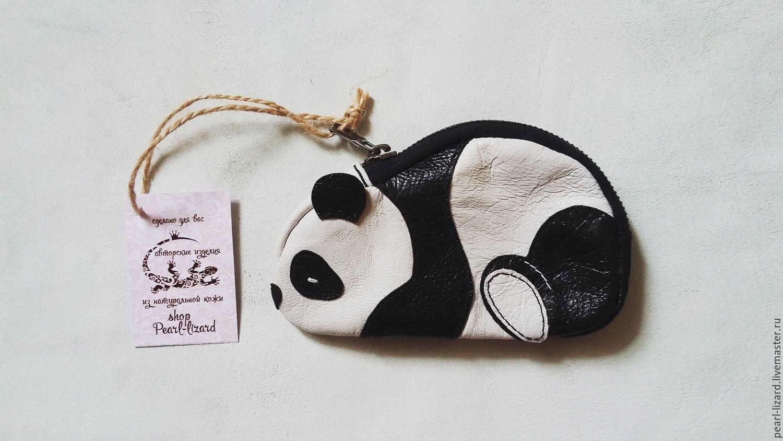 Кошелек для мелочи в виде панды. Натуральная кожа, Кошельки, Владивосток, Фото №1