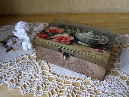 """Кухня ручной работы. Ярмарка Мастеров - ручная работа. Купить Шкатулка для чая  """"Букет роз......"""". Handmade. Шкатулка"""