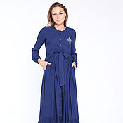"""Одежда ручной работы. Ярмарка Мастеров - ручная работа Платье """"Аят"""" синее. Handmade."""