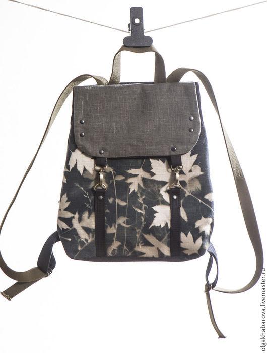 Сумки и аксессуары ручной работы. Ярмарка Мастеров - ручная работа. Купить рюкзак  с фотограммой ОСЕНЬ. Handmade. Черный, стильный рюкзак