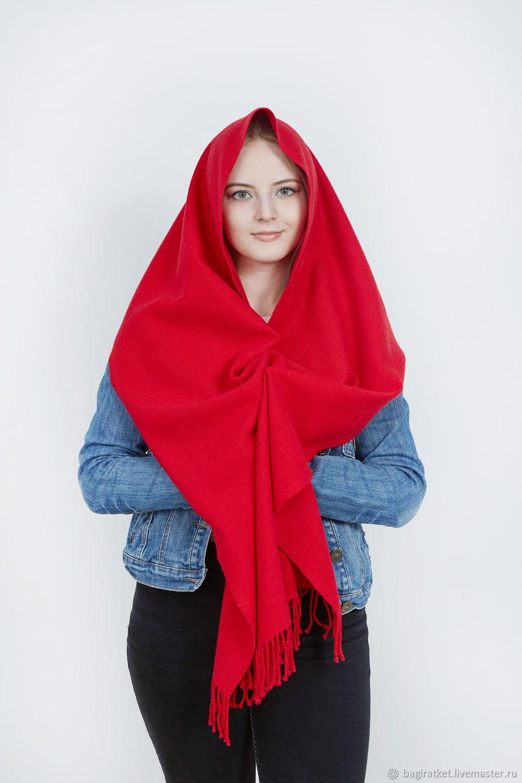 Кашемировый яркий красный тканый шарф мягкий теплый, Шарфы, Вязьма,  Фото №1