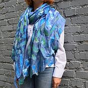 Аксессуары handmade. Livemaster - original item Blue felted stole natural silk wool silk scarf. Handmade.