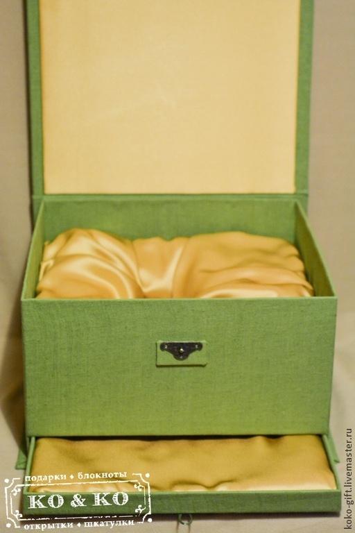 Подарочная упаковка ручной работы. Ярмарка Мастеров - ручная работа. Купить Подарочная коробка. Handmade. Салатовый, текстильная коробка