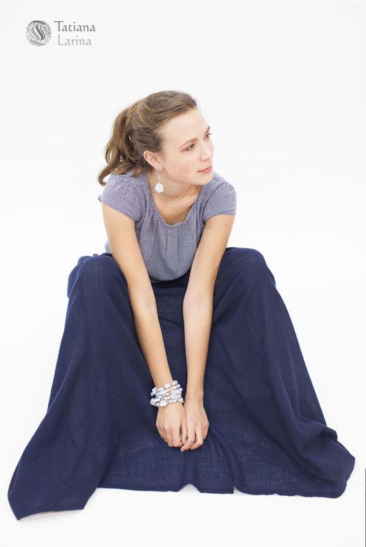 Юбки ручной работы. Ярмарка Мастеров - ручная работа. Купить Длинная синяя юбка в пол, юбка из шерсти, юбка-пачка из марлевки. Handmade.