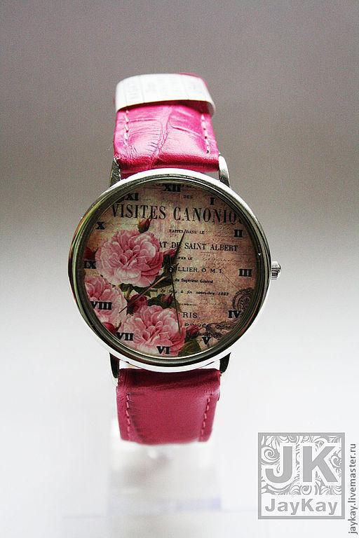 """Часы ручной работы. Ярмарка Мастеров - ручная работа. Купить Часы наручные JK """"Розы"""". Handmade. Розовый, цветы, цветочный"""