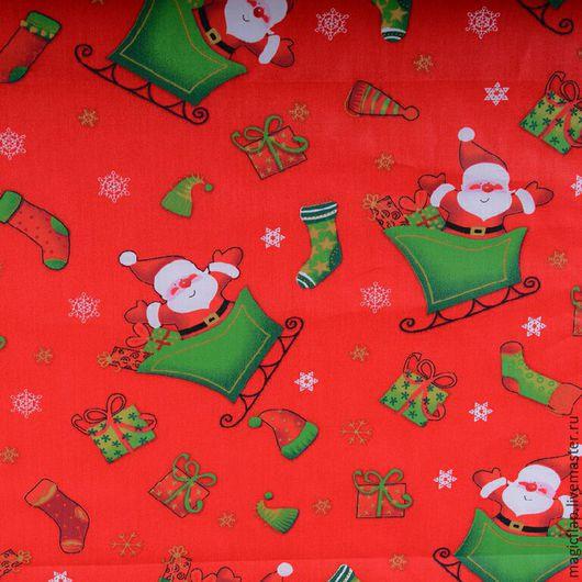 """Шитье ручной работы. Ярмарка Мастеров - ручная работа. Купить Ткань хлопок новогодняя """"Дед Мороз"""". Для шитья, НГ декора, скатертей. Handmade."""