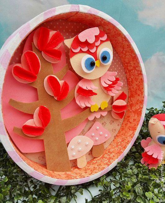 """Детская ручной работы. Ярмарка Мастеров - ручная работа. Купить Панно в детскую """"Зачарованный лес"""". Handmade. Розовый, лесная тема"""