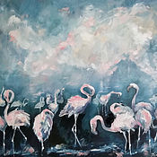 Картины и панно handmade. Livemaster - original item A flock of pink flamingos oil painting. Handmade.