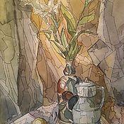 Картины ручной работы. Ярмарка Мастеров - ручная работа Натюрморт с лилиями. Handmade.