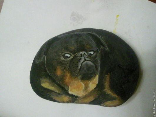 Роспись по камню ручной работы. Ярмарка Мастеров - ручная работа. Купить Галька. Handmade. Серый, галька, собака, сувенир