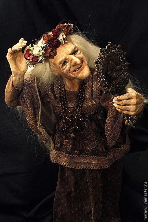 Коллекционные куклы ручной работы. Ярмарка Мастеров - ручная работа. Купить Баба Яга in love. Handmade. Коричневый