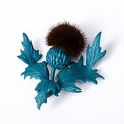 Украшения handmade. Livemaster - original item Thistle brooch dark blue leather and fur. Handmade.